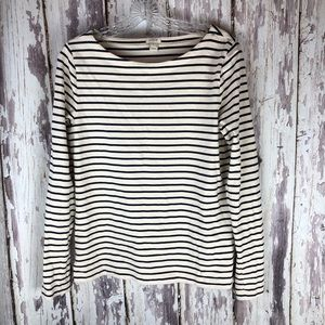 J Crew Boatneck Stripe Long Sleeve Top Medium